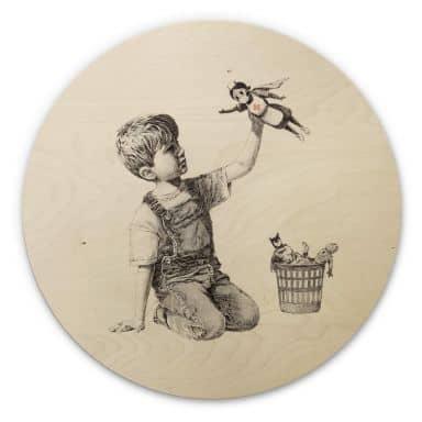 Holzbild Banksy - Real Hero - Rund