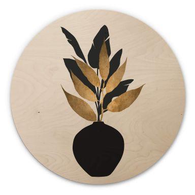 Holzbild Kubistika - Bouquet No. 5 - Rund