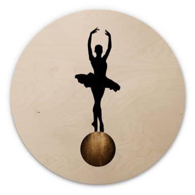 Holzbild Kubistika - Prima Ballerina - Rund