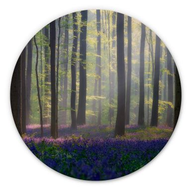 Holzbild Popan - Glockenblumen - Rund