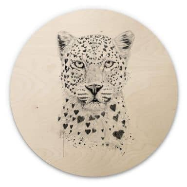 Holzbild Solti - Liebevoller Leopard - Rund