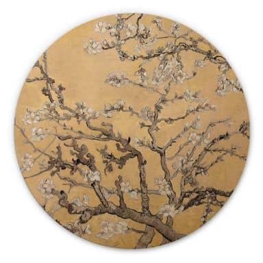 Holzbild van Gogh - Mandelblüte Creme - Rund