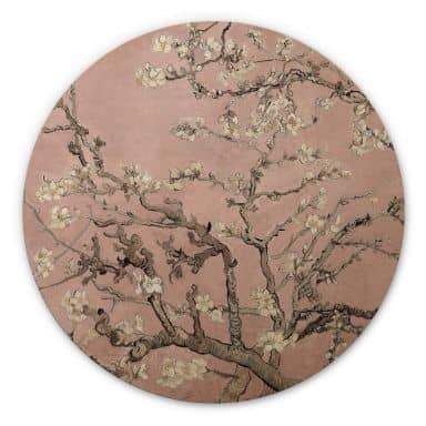 Holzbild van Gogh - Mandelblüte Rosé - Rund