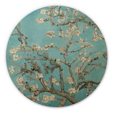 Holzbild van Gogh - Mandelblüte - Rund