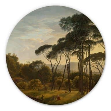 Holzbild Voogd - Italienische Landschaft mit Schirmkiefern - Rund