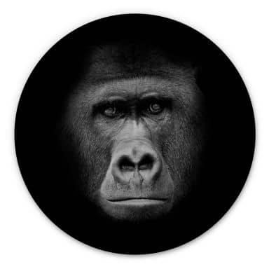 Holzbild Gorilla - Rund