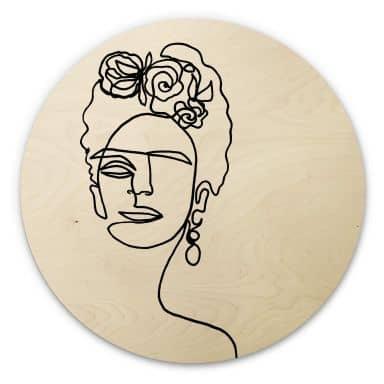 Holzbild Hariri - Frida-Kahlo - Rund