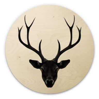 Holzbild Ireland - The Black Deer - Rund