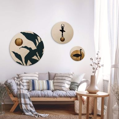 Houten Wandcirkel Set Kubistika - Golden Moon