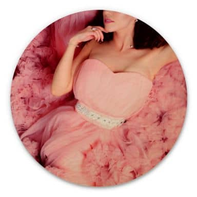 Holzbild - Das rosa Kleid - Rund