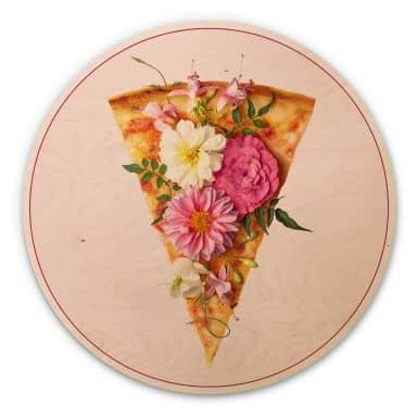 Holzbild Fuentes - Pizza und Blumen - Rund