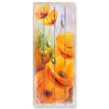 Holzbild Schmucker - Mohn im Feld - 40x100 cm