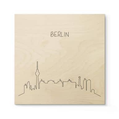 Holzposter Skyline Berlin Outline