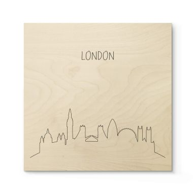 Holzposter Skyline London Outline