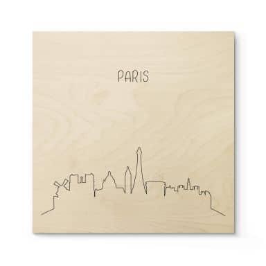 Holzposter Skyline Paris Outline
