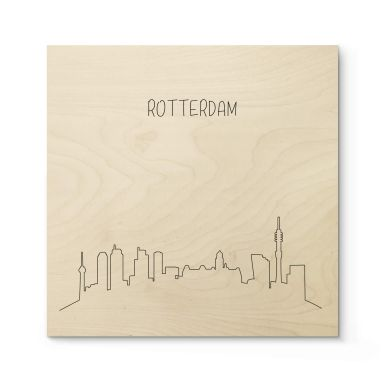 Holzposter Skyline Rotterdam Outline
