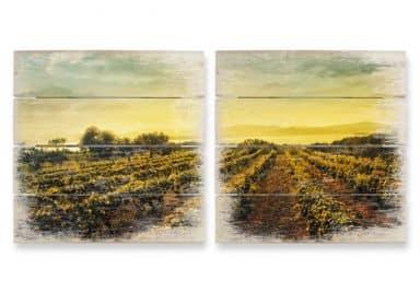 Holzbild-Set Weinreben im Sonnenuntergang (2-teilig)