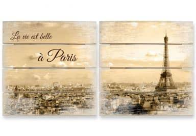 Houten Wanddecoratie Skyline van Parijs 2-delig