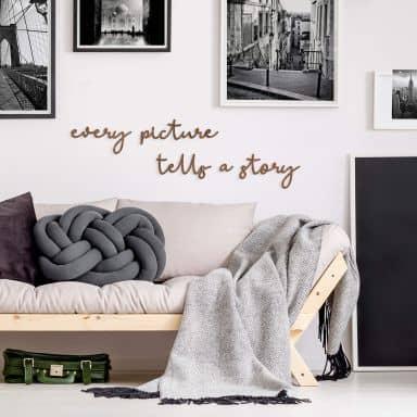 Lettres décoratives en placage bois d'acajou - Every picture tells a story