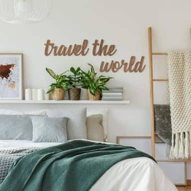 Houten letters Travel the World