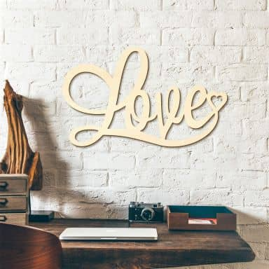 Wooden Décor - Love - poplar wood
