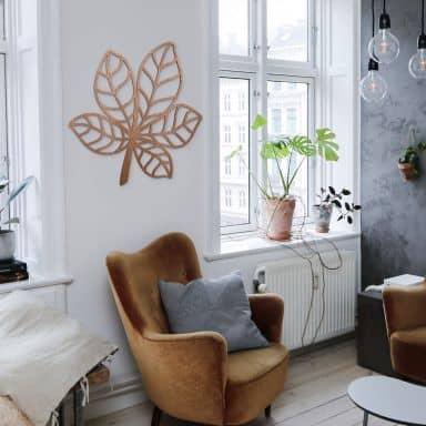 Houten Wanddecoratie Mahoniefineer Kastanjeblad