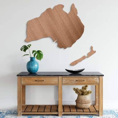 Holzdeko Mahagoni - Karte Australien - Neuseeland
