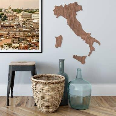 Map of Italy Wood - mahogany veneer
