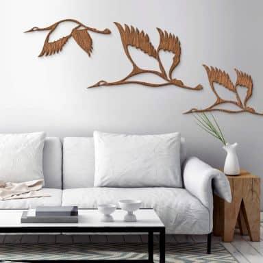 Holzkunst Mahagoni - Kraniche - Vogelschwarm 02