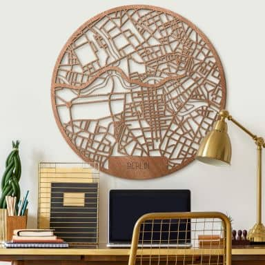 Holzkunst Mahagoni Stadtplan Berlin