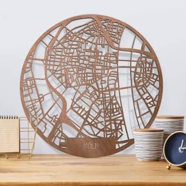 Holzkunst Mahagoni Stadtplan Köln - Rund