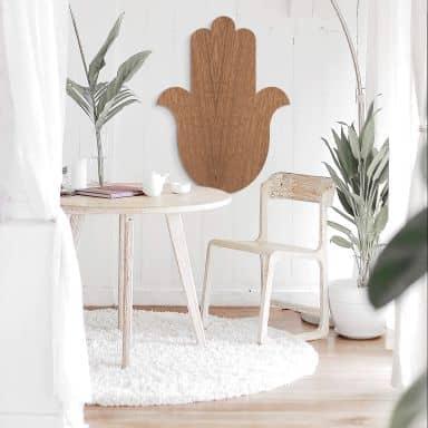Holzdeko Mahagoni - Yoga Hamsa Hand Silhouette