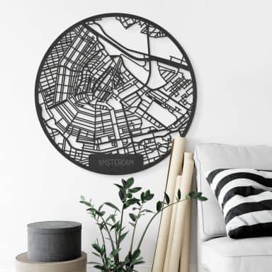 MDF Decoratie Kaart van Amsterdam