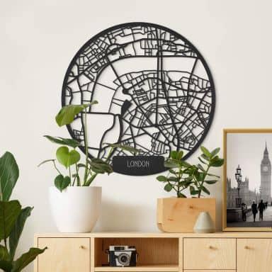 MDF - Holzkunst Stadtplan London - Rund