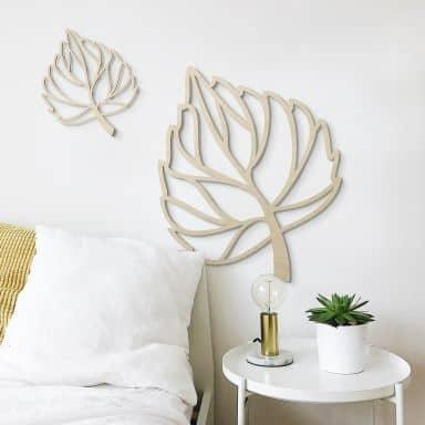 Decoro in legno- Foglia di betulla