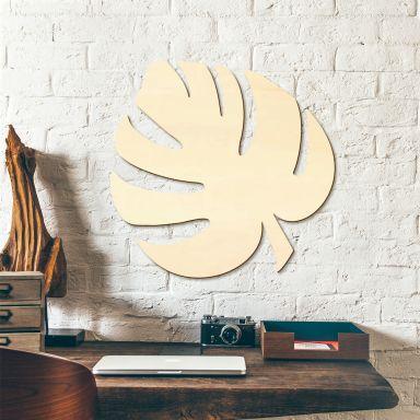 Décoration murale en bois peuplier - Feuille Monstera 03