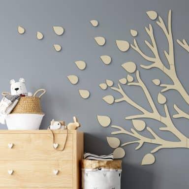 Décoration en bois - Set de feuilles - Placage peuplier