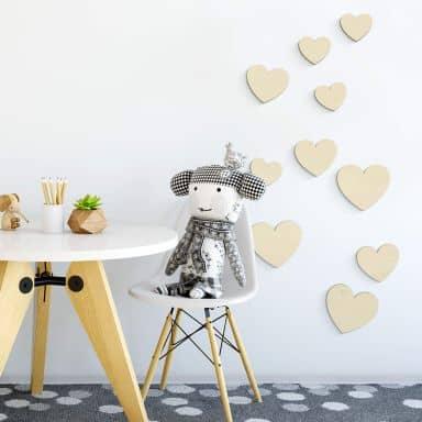 Holzdeko Pappel - Herzen Set (10-teilig)