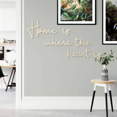 Wanddecoratie Populierenhout Home is where the heart is