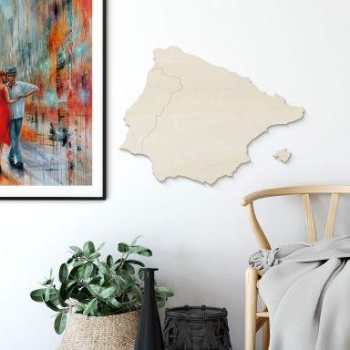 Holzkunst Pappel Furnier - Karte Iberische Halbinsel