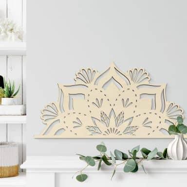 Holzdeko Pappel - Mandala Floral Halb
