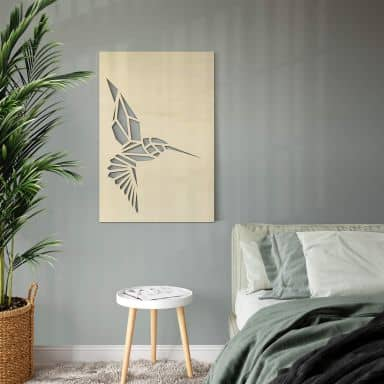Wanddecoratie Populierenhout - Origami Kolibrie