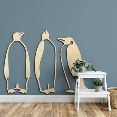 Holzkunst Pappel - Pinguine (3-teilig)