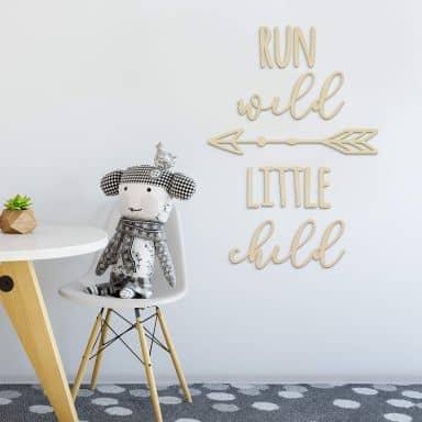 Décoration en bois - Run wild little child  - Placage de peuplier