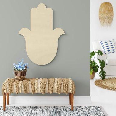 Holzdeko Pappel - Yoga Hamsa Hand Silhouette