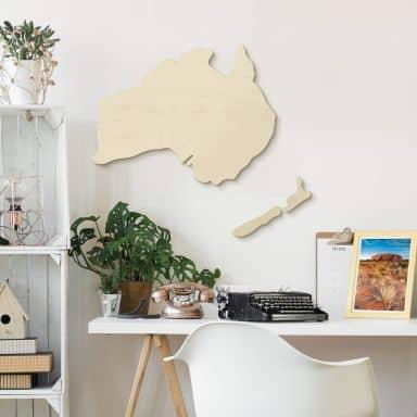 Holzdeko Pappel - Karte Australien - Neuseeland