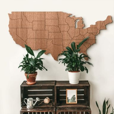 Holzdeko Mahagoni - Karte USA mit Ländergrenzen