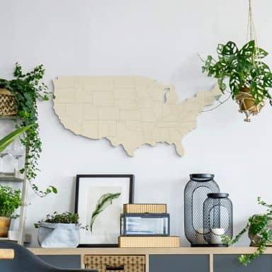Holzdeko Pappel - Karte USA mit Ländergrenzen