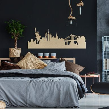 Holzkunst Pappel Furnier - Skyline New York