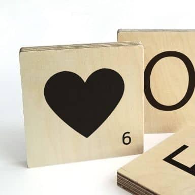 Træbogstaver - Scrabble - Hjerte